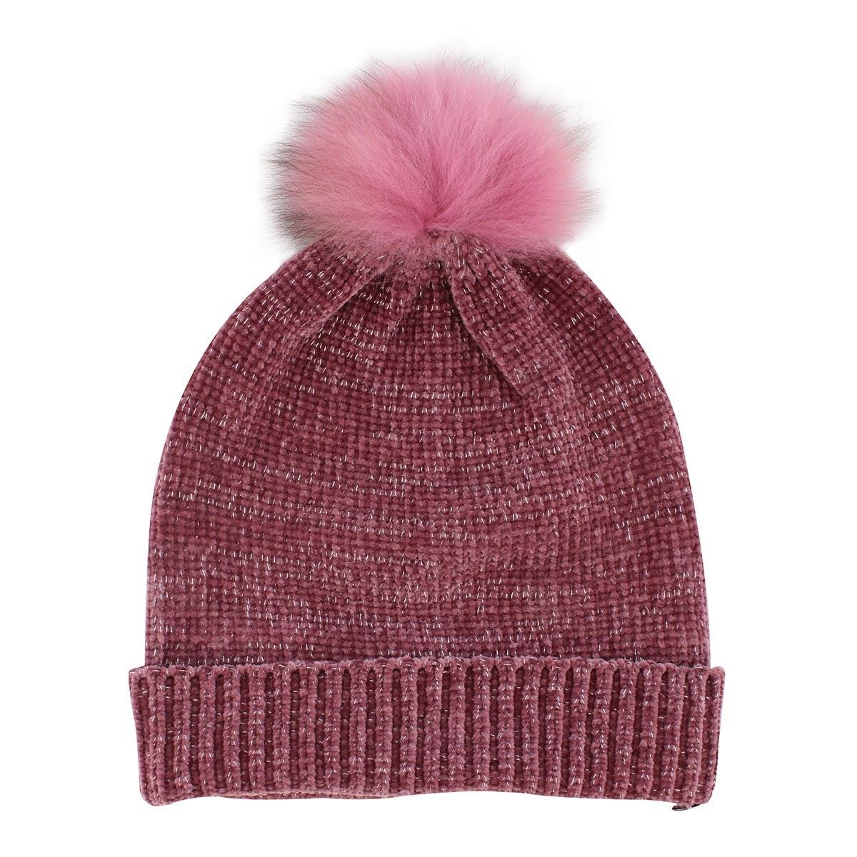 Lds Chenille Metallic Fur Pom plum hat
