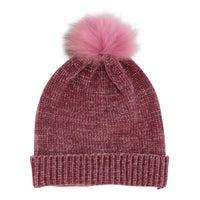 Women's Metallic Fur Pom Hat - Plum