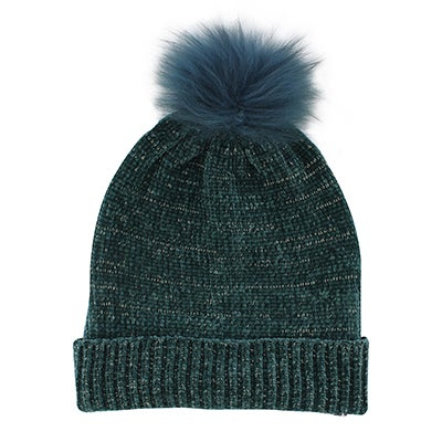Fraas Women's CHENILLE METALLIC FUR POM petrol hats