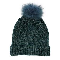 Lds Chenille Metallic Fur Pom petrol hat