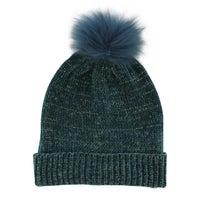 Women's Metallic Fur Pom Hat - Petrol