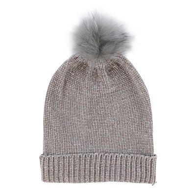 Fraas Women's CHENILLE METALLIC FUR POM light grey hats