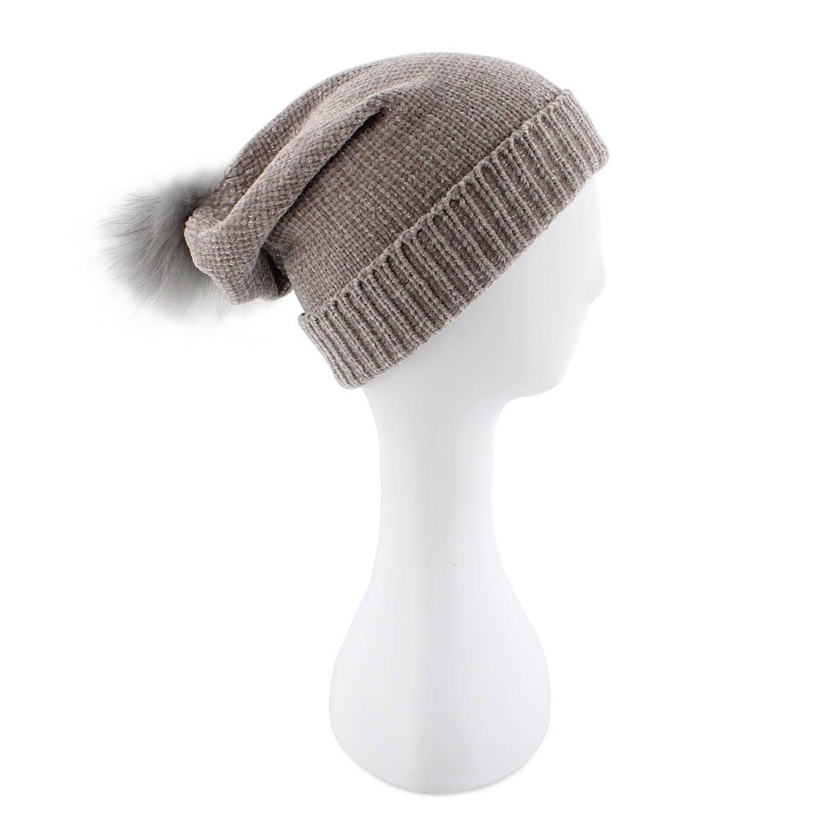 Lds Chenille Metallic Fur Pom lt gry hat