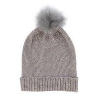 Women's Metallic Fur Pom Hat - Light Grey