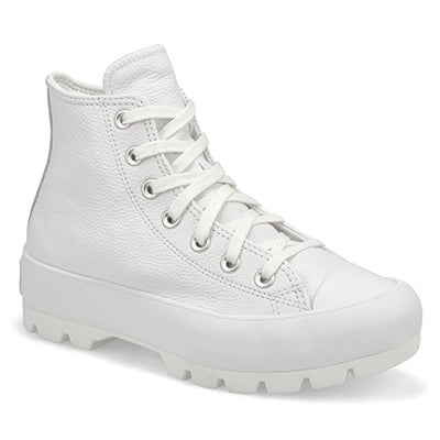 Lds CTAS Lugged Hi Leather Sneaker-White