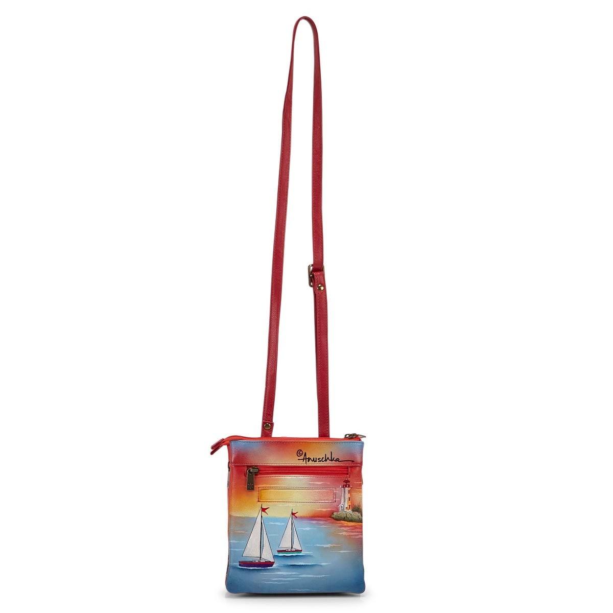Sac bandoulière GUIDINGLIGHTcuir peint multicolore