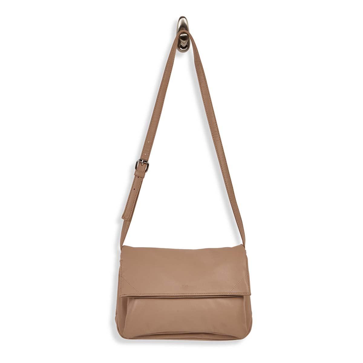 Women's HARLOW foldover beige crossbody bag