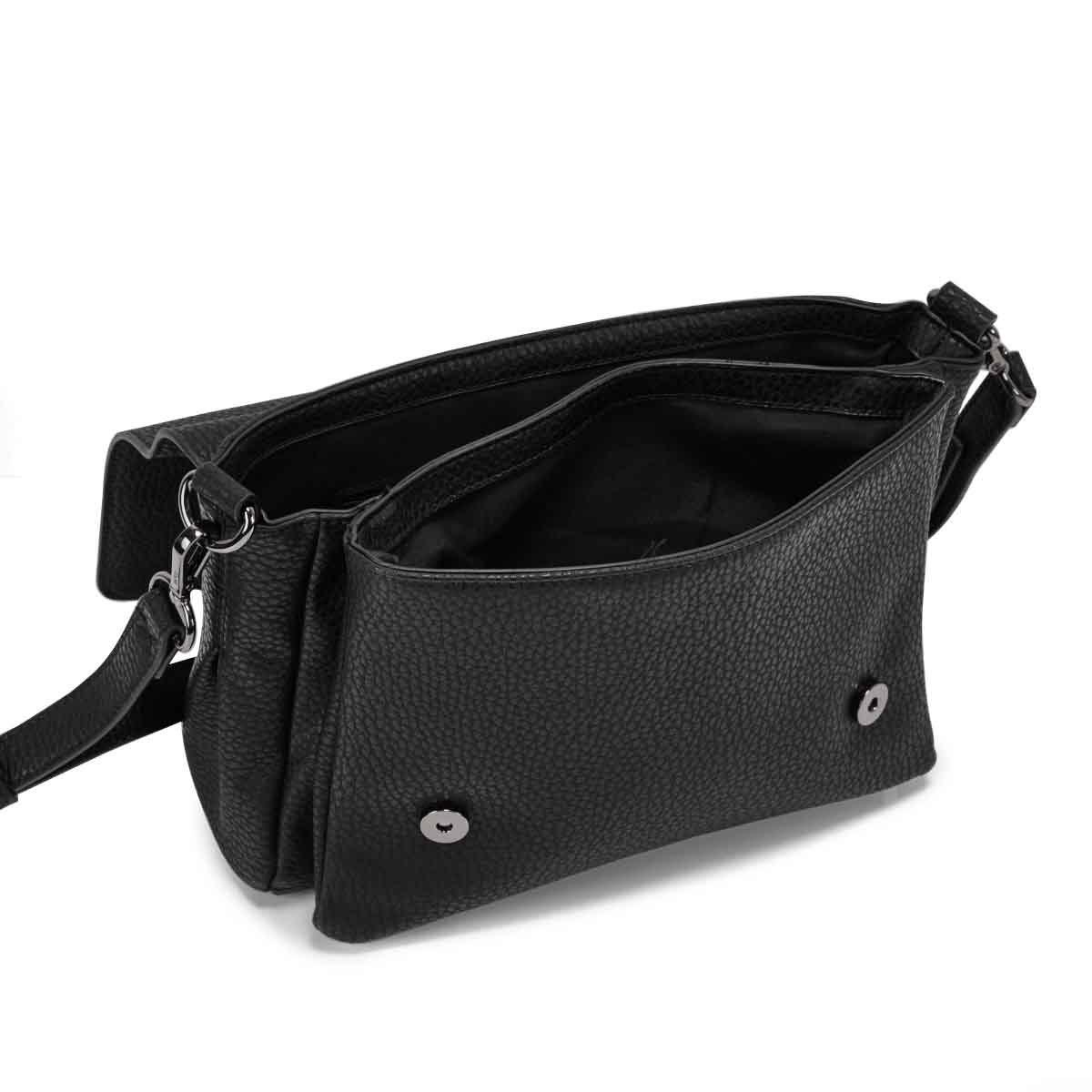 Lds black messenger crossbody bag