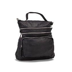 Lds blk convertible messenger/backpack