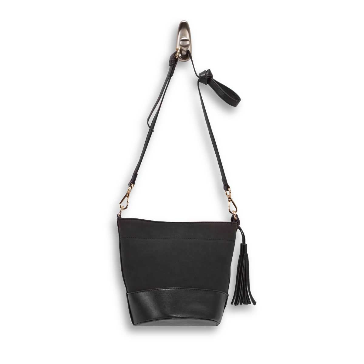 Lds black small bucket crossbody bag