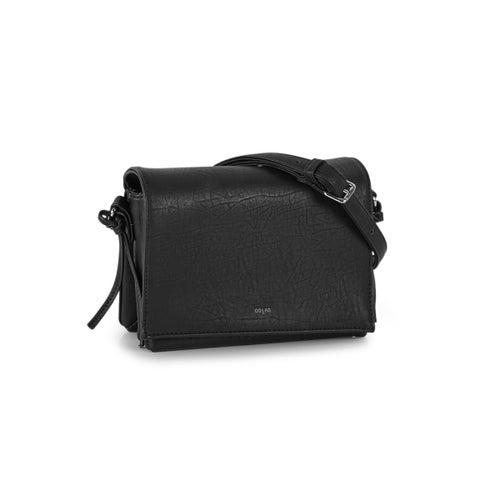 Lds black fold over cross body bag