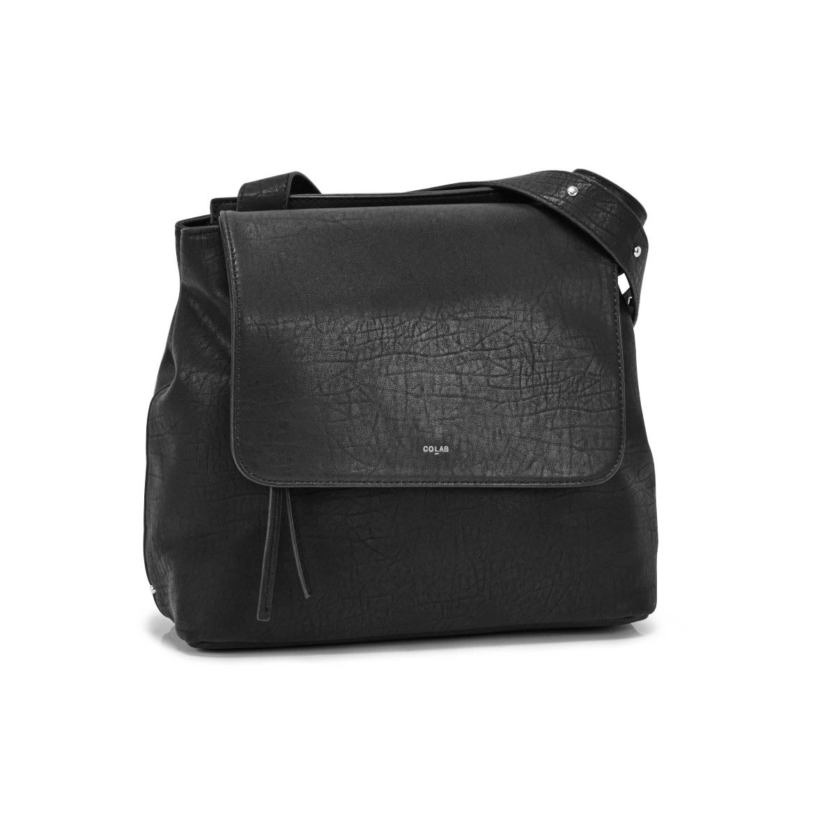 Lds black front flap shoulder bag