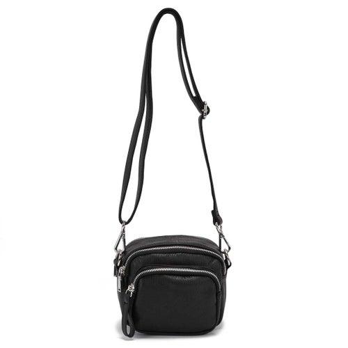 Lds black triple zip crossbody bag