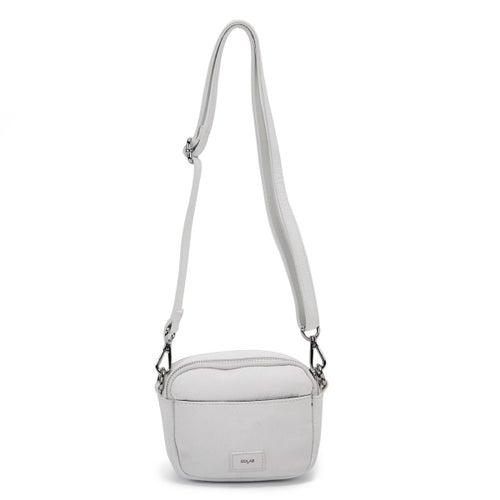 Lds white triple zip crossbody bag