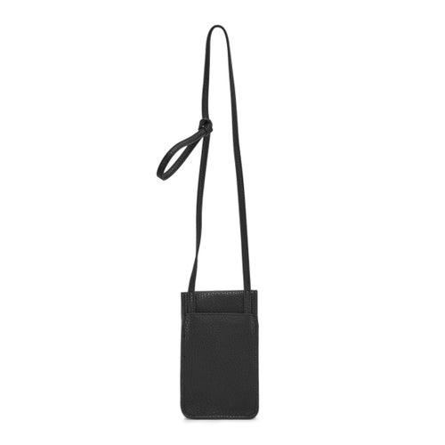 Lds black flap tech crossbody bag
