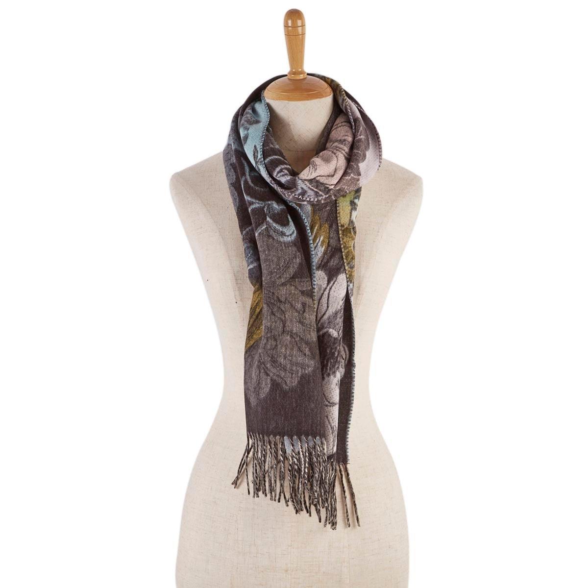 Lds Botanical blk/lt rose scarf