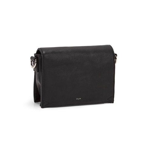 Lds black front flap crossbody bag