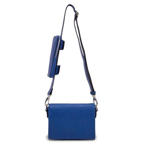 Lds royal blu front flap crossbody bag