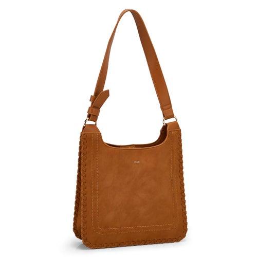 Lds Whipstitch russet hobo/crossbody bag