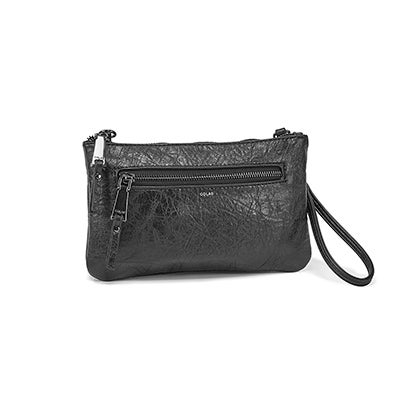 Co-Lab Women's 6324 black cross body wristlet clutch