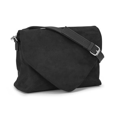 Co-Lab Women's 6330 black fold over flap cross body bag