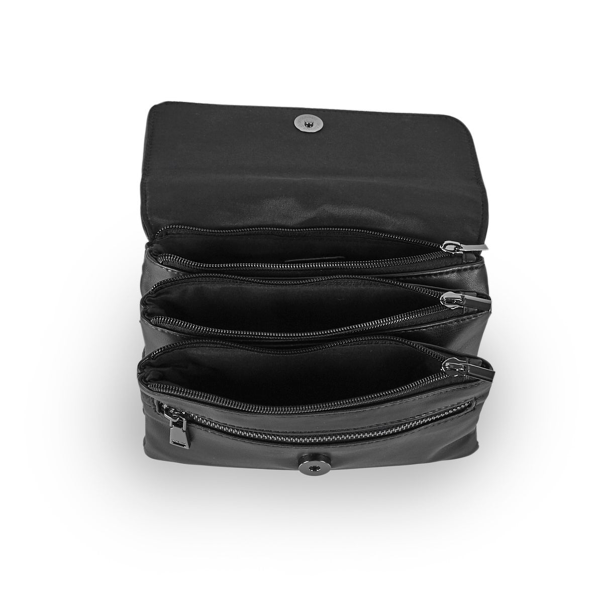 Women's 6335 smooth triple black crossbody bag