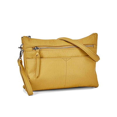 Co-Lab Women's 6347 mustard wristlet cross body clutch