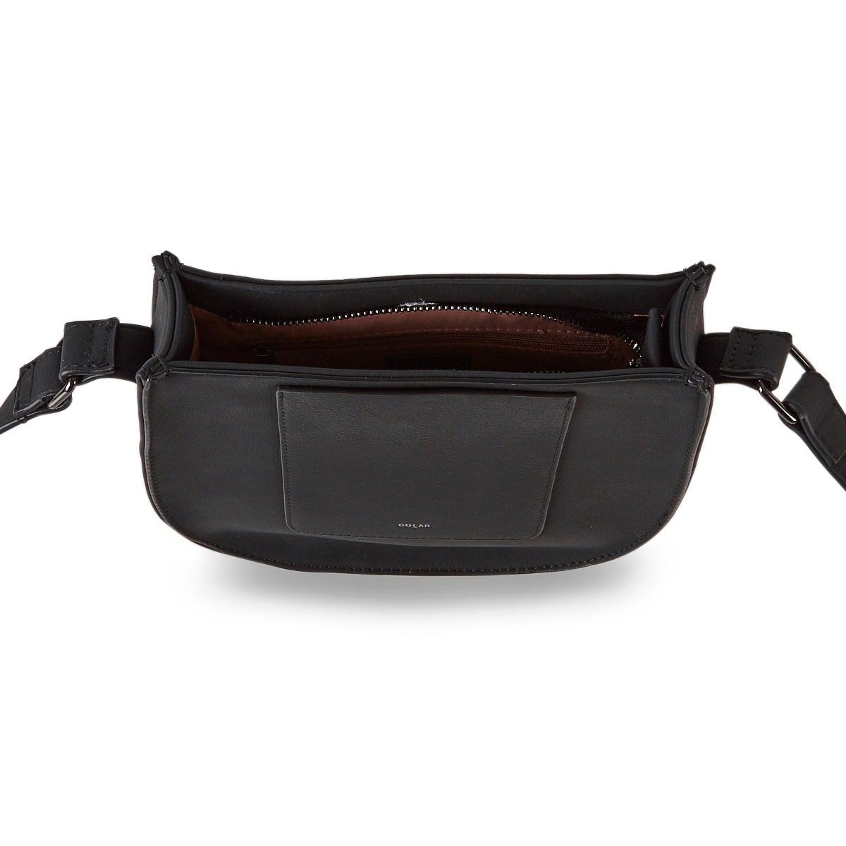 Sac bandoulière 6367 noir, profil selle, femmes