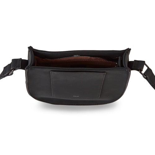 Lds black top zip saddle cross body bag