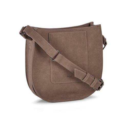 Lds chstnt top zip saddle cross body bag