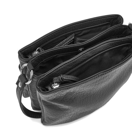 Lds blk triple crossbody bag