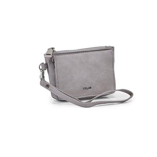 Lds grey detachable strap wristlet