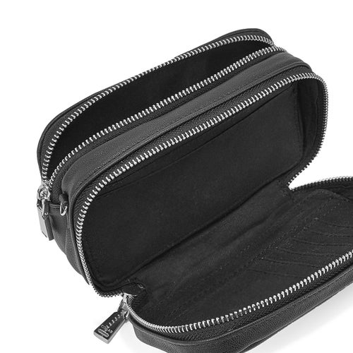 Lds blk cross body wallet with wristlet