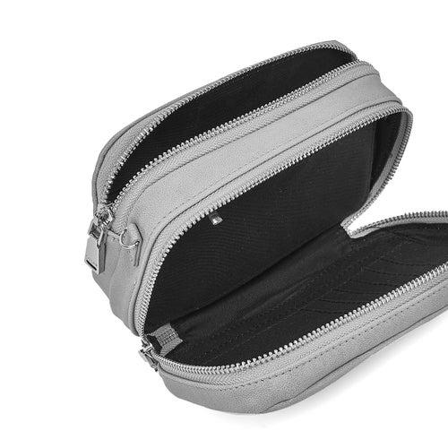 Lds grey cross body wallet with wristlet