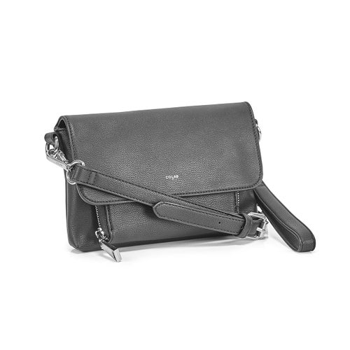 Lds black front flap crossbody