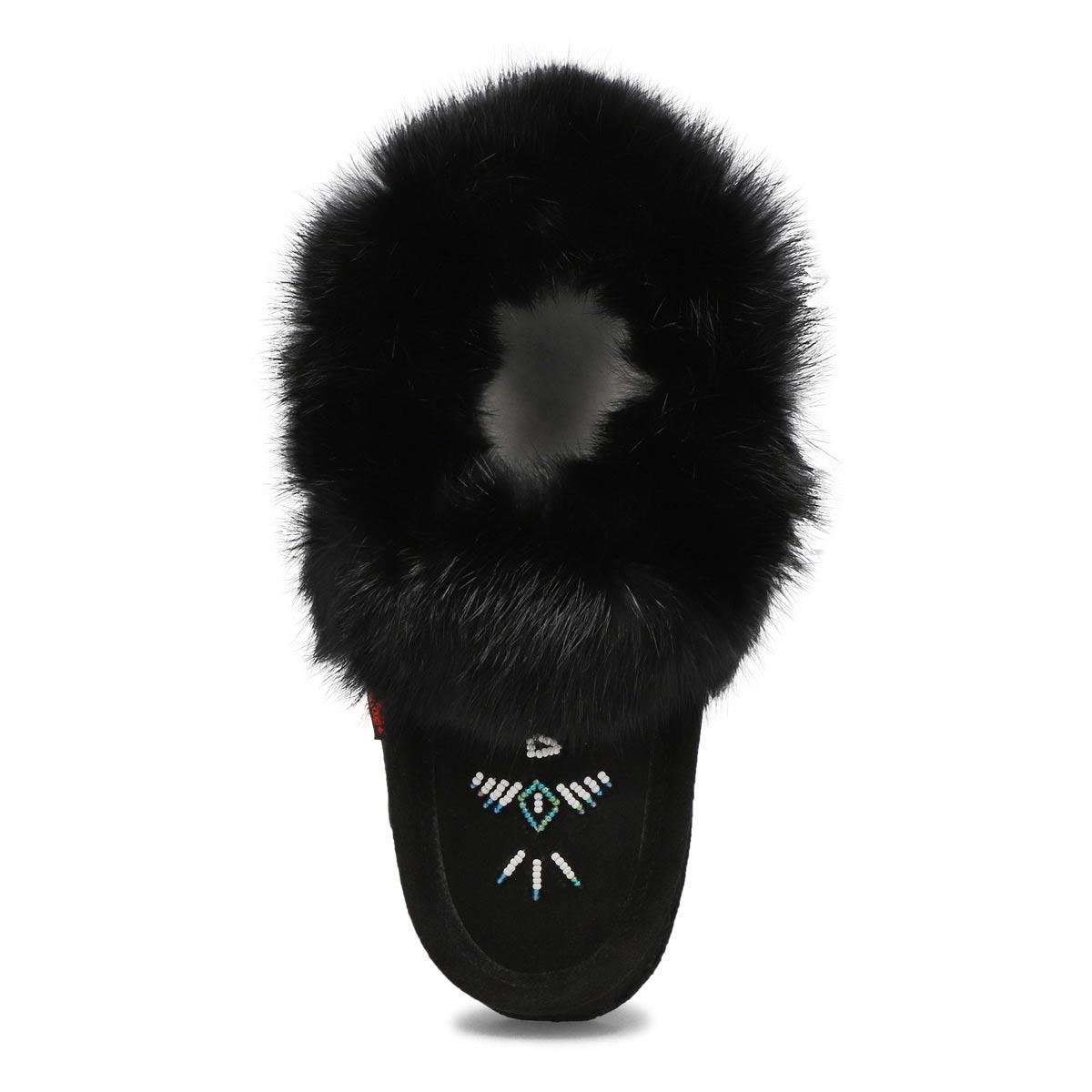Women's 653L Rabbit Fur Moccasin - Black