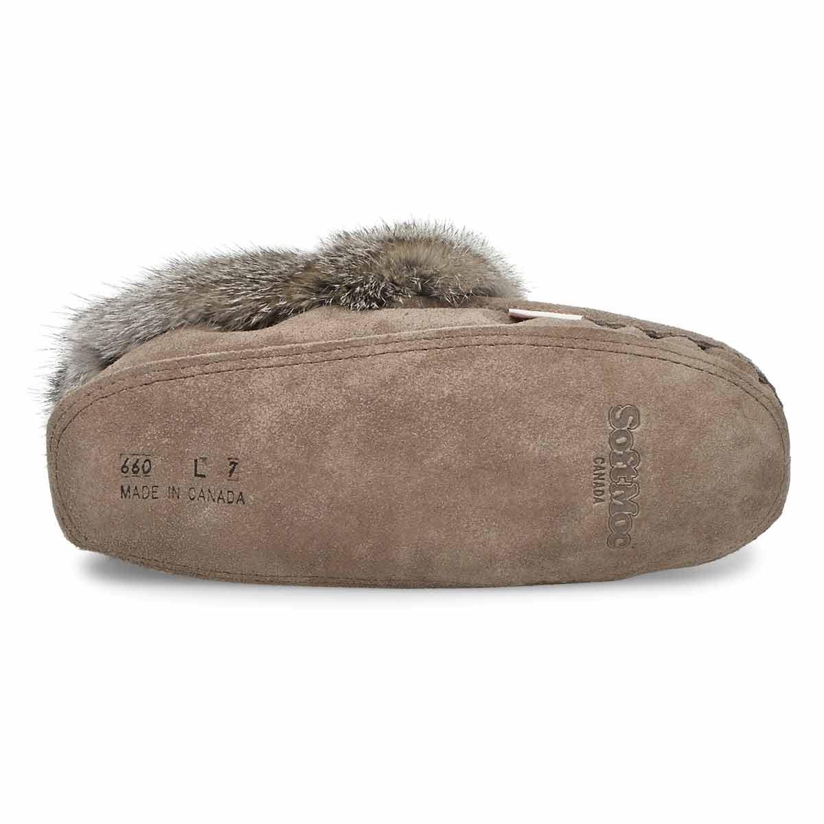 Women's 660 Rabbit Fur Moccasin - Grey