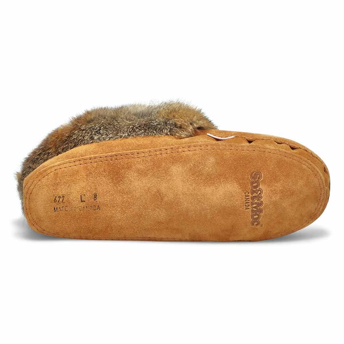 Women's 677 L Rabbit Fur Moccasin - Mocha