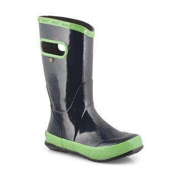 Boys' RAIN BOOT SOLID navy/green rain boots