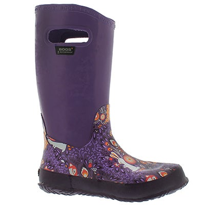 Bogs Girls' RAINBOOT FOREST grape rain boots