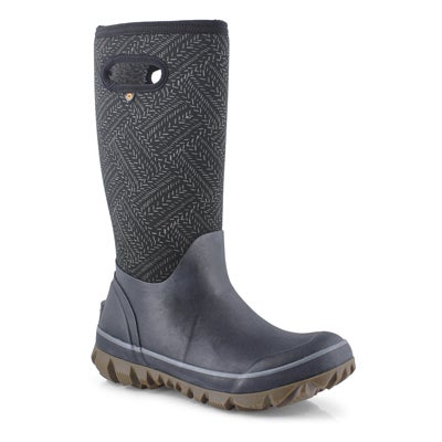Women's WHITEOUT FLECK blk multi waterproof boots