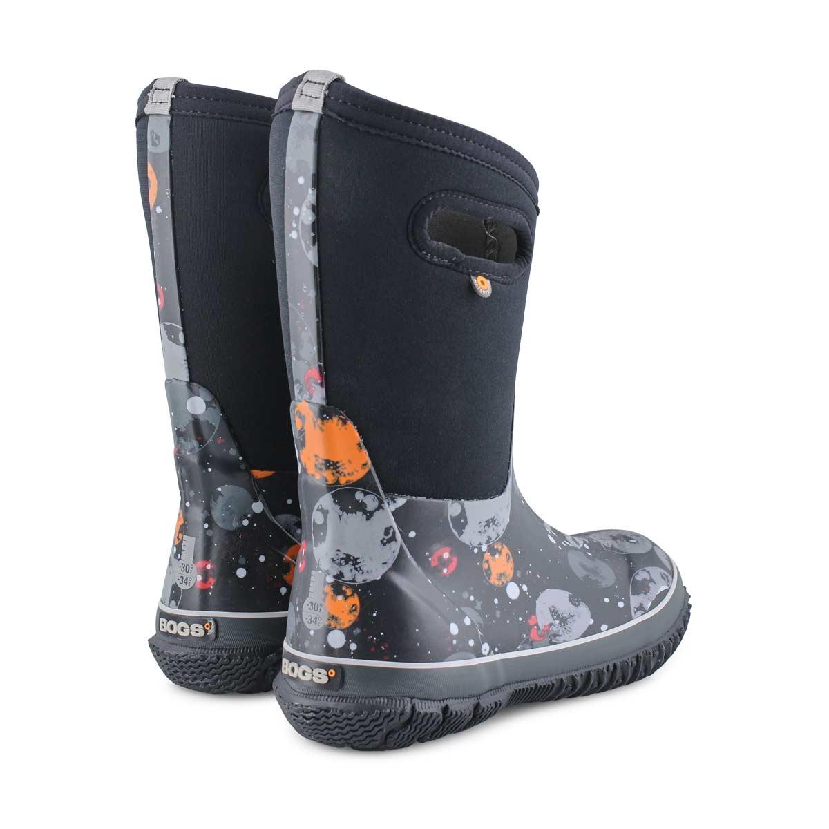 Boy's Classic Moons Waterproof Boot - Black