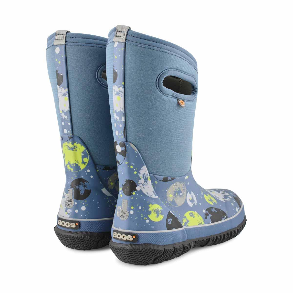 Boy's Classic Moons Waterproof Boot - Dark Blue