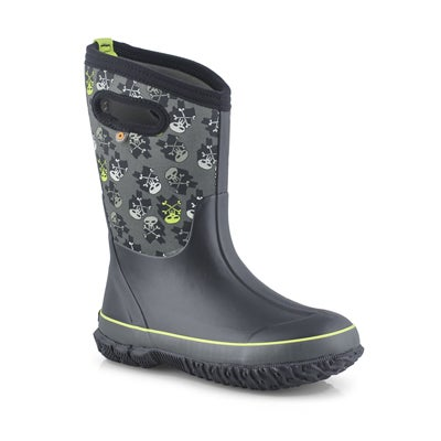 Boys' CLASSIC SKULLS black waterproof boots