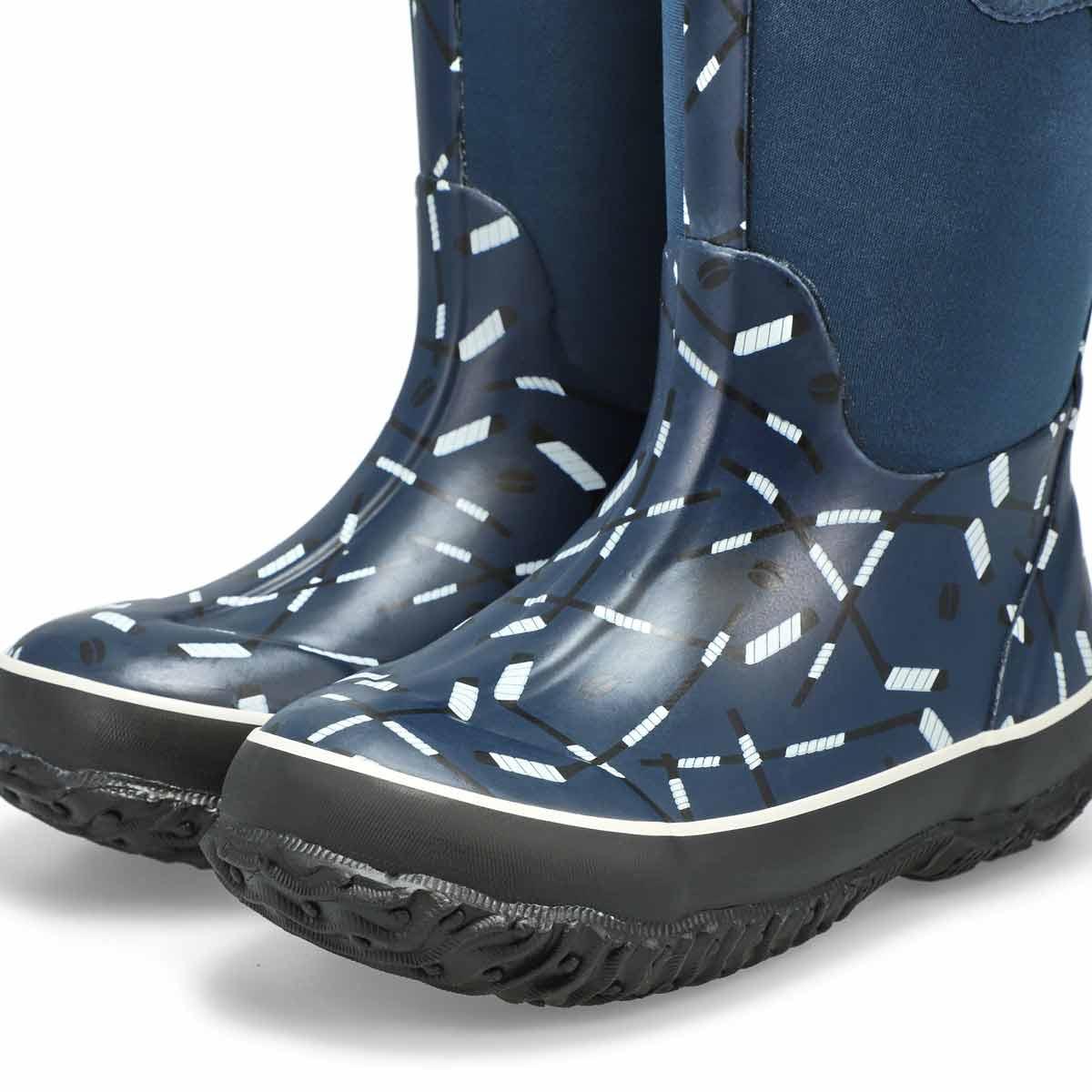 Boy's Classic Hockey Waterproof Boot - Blue