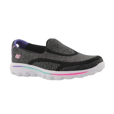 Skechers Girls' GOwalk 2 SUPER SOCK black slip ons