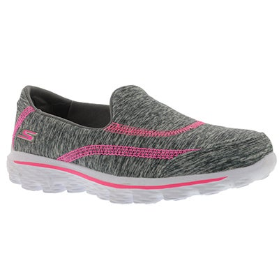 Skechers Girls' GOwalk 2 RELAY grey/pink slip ons