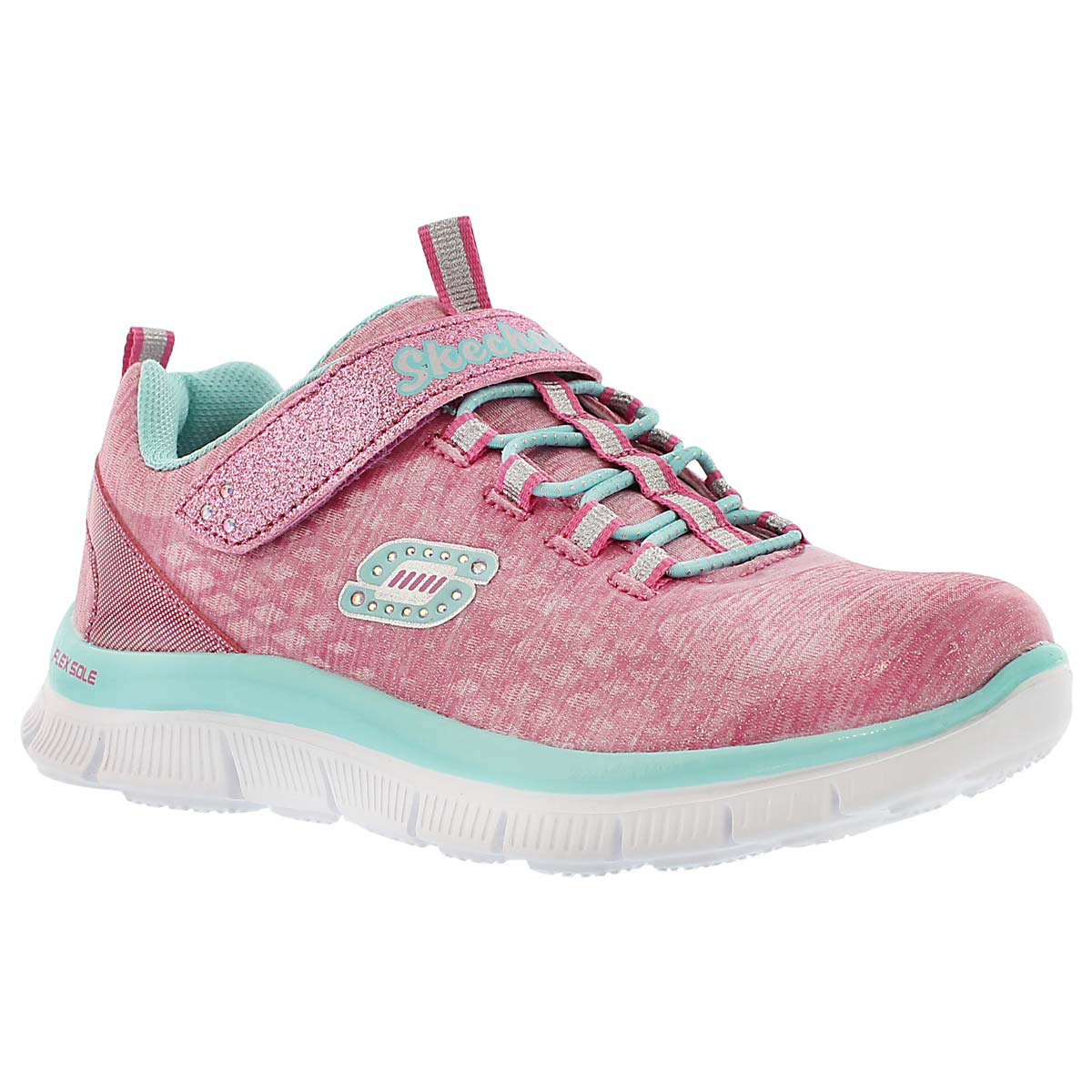 Girls' SPARKTACULAR pink/aqua running shoes