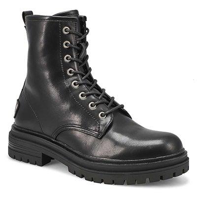 Women's BAVNA black lace up combat boots
