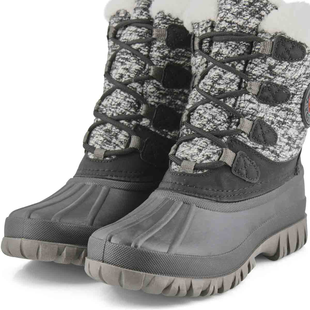 Women's CAMP blk/wht waterproof winter boots